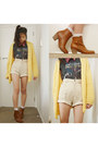 Burnt-orange-brown-booties-rubi-boots-beige-vintage-shorts