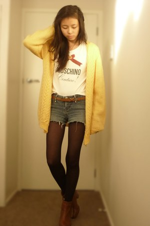 light yellow cardigan - tawny brown booties rubi boots - blue Lee Denim shorts