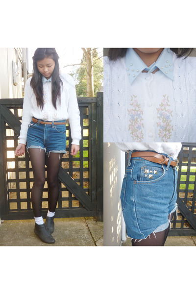 white white cardi vintage cardigan - black chelsea boots Number One Shoes boots