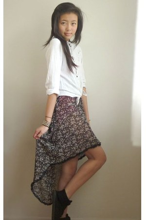 black DIY skirt - black black sneakers sneakers - white vintage blouse