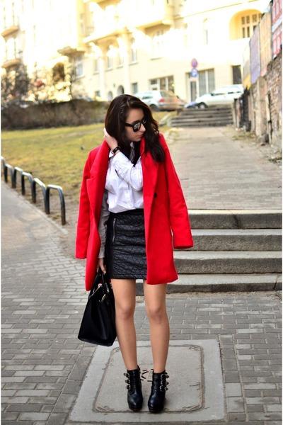 red Choies coat - white H&M shirt - black Choies skirt