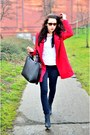 Red-choies-coat-white-h-m-divided-t-shirt-black-czas-na-buty-wedges