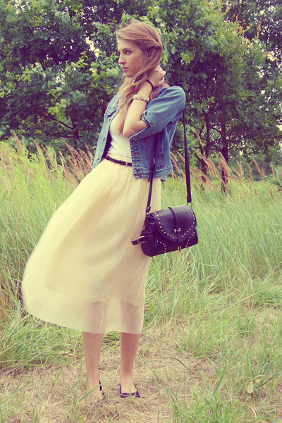 cream OASAP skirt - blue second hand jacket - black OASAP bag - black Mango belt