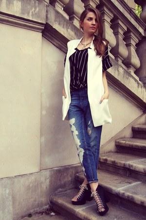 black H&M boots - sky blue pull&bear jeans - white Sheinside vest