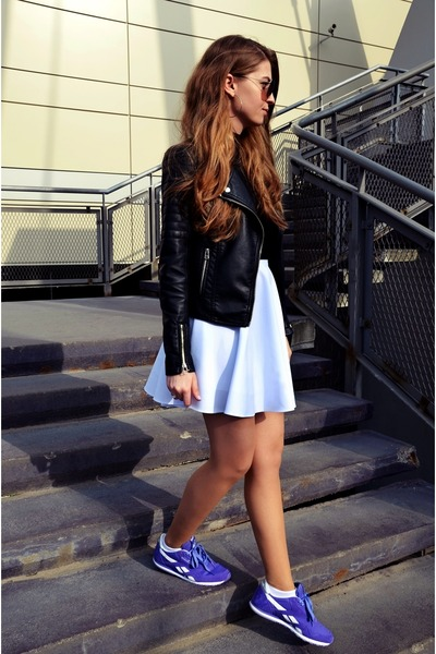 black Cubus jacket - H&M sunglasses - white Ebay skirt - violet Reebok sneakers