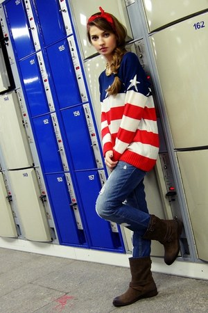 Sheinside sweater - brown Tommy Hilfiger boots - pull&amp;bear jeans