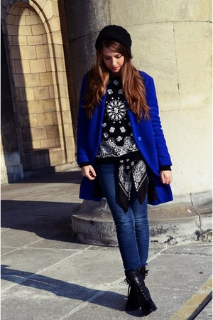 blue Sheinside coat - black Lovelyshoes boots - navy Cubus jeans - black H&M hat