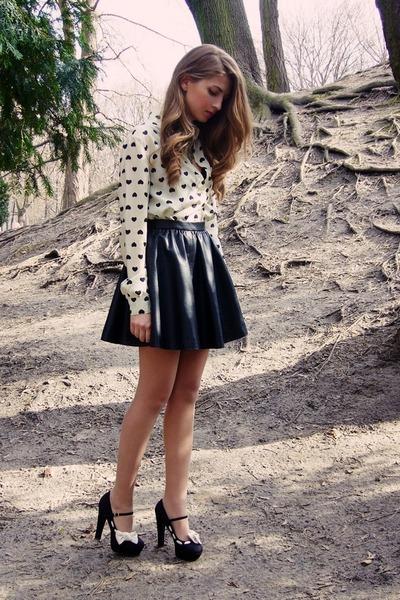 black H&M skirt - ivory OASAP shirt - black new look heels
