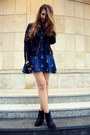 Black-h-m-boots-blue-sheinside-dress-black-cubus-jacket