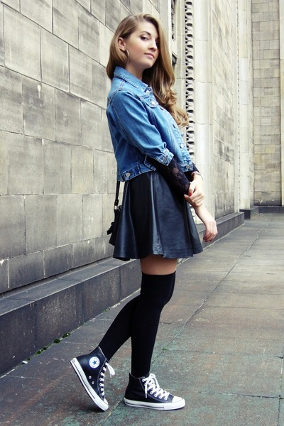black no name socks - sky blue vintage jacket - black H&M skirt