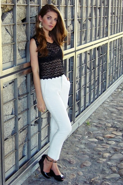 black second hand top - white Zara pants