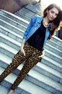 Blue-vintage-jacket-gold-h-m-necklace-black-no-name-top-sheinside-pants