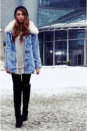sky blue 6ks jacket - black new look boots - heather gray Zara dress
