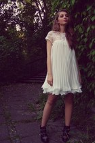black Stradivarius boots - white Sheinside dress