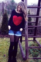 black with a heart Wholesale-Dress sweater