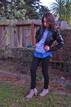 suede Dolce Vita boots - Mango jeans - faux leather Express jacket