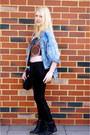 Light-blue-stone-wash-vintage-shirt-red-crop-beaded-hey-joe-retro-top