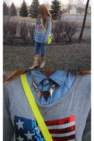 heather gray Forever 21 shirt - yellow Target bag