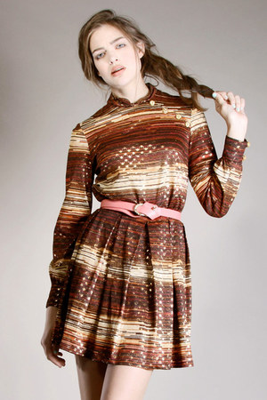 metallic stripe vintage dress