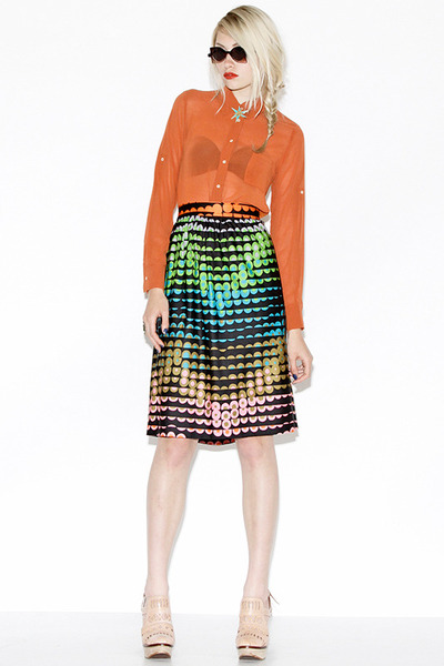 color splash vintage skirt