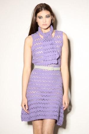 purple crochet 1960s dress