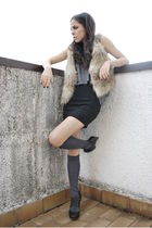 black H&M skirt - brown Zara shoes - beige H&M jacket - gray H&M socks