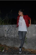 red Zara jacket - white made by myself t-shirt - Converse shoes - blue H&M jeans