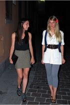 Brandy & Melville top - green H&M skirt - black purse - black Zara shoes - acces