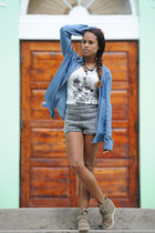 sky blue Forever 21 jacket - heather gray H&M shorts
