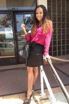 hot pink Forever 21 blouse - black Mango bag - black H&M skirt