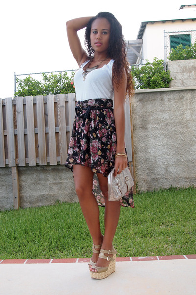 black Seductions skirt - white Forever 21 shirt - eggshell Mango purse