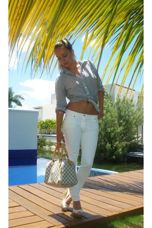 sky blue striped Charlotte Russe blouse - ivory Louis Vuitton bag
