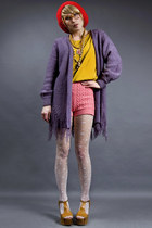 light purple knit fringe vintage cardigan
