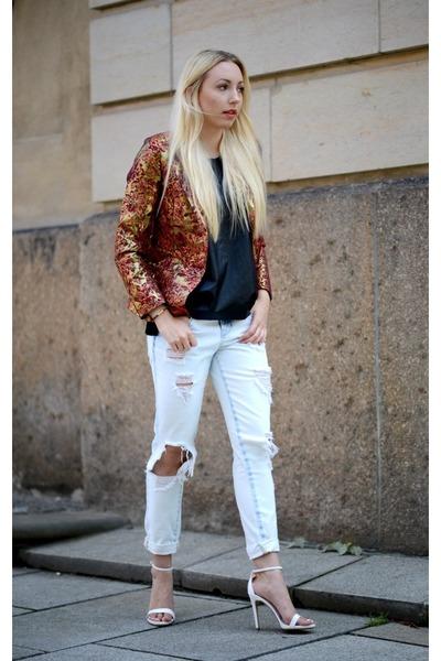 brick red asos blazer - Zara jeans - black Zara top