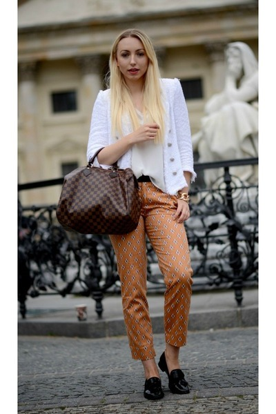 white Zara blazer - dark brown Louis Vuitton bag - ivory Zara top - Zara pants
