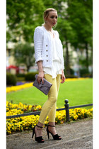 light yellow Zara pants - periwinkle Aldo bag - black Zara sandals
