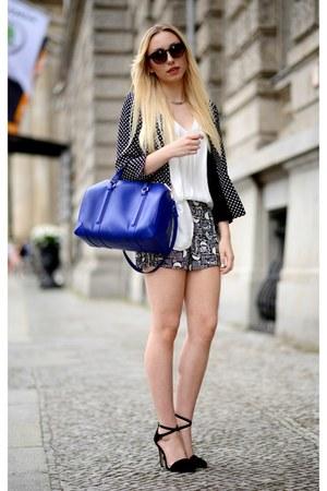blue Zara bag - sale asos blazer - dark brown H&M sunglasses