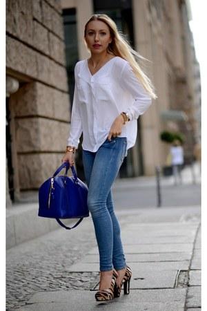 blue Zara bag - sky blue H&M jeans - brown Nine West heels - white Zara blouse