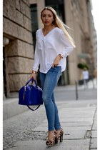 blue Zara bag - sky blue H&M jeans - brown Nine West heels - white Zara blouse