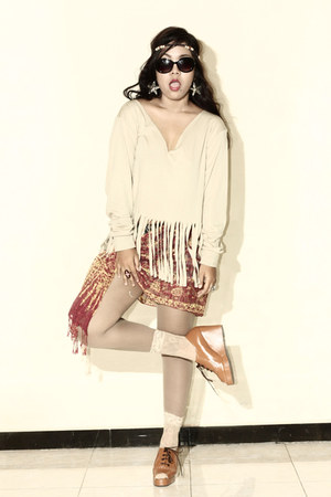 LACE SOCKS socks - brown scarf scarf - DIY fringe top top - Brown Wedges wedges
