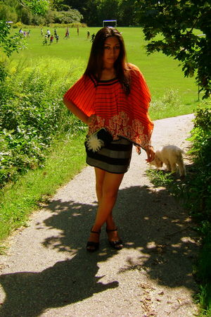 orange gifted top - gray French Connection skirt - black payless shoes - black A