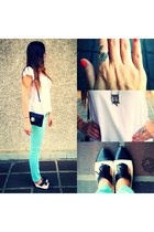black Aldo shoes - light blue calvin klein jeans - ivory Zara blouse