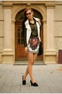 Gold-shirt-black-bag-white-skirt-black-heels-white-vest