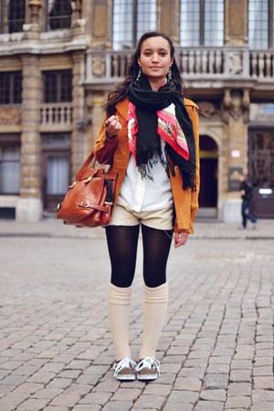 tawny jacket - beige shorts - white blouse