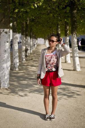 ruby red shorts - neutral blazer