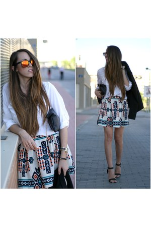 OASAP skirt - pull&bear shirt - Primark sandals - NYS collection glasses