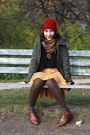 Brown-leather-goodwill-boots-dark-green-h-m-coat-ruby-red-knit-handmade-hat