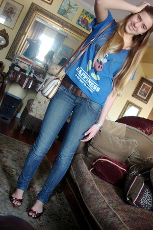 blue Forever 21 shirt - brown faded glory belt - blue Frankie B jeans - black Ha