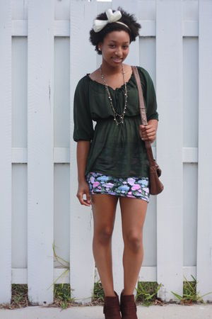 green H&amp;M shirt - pink Forever 21 skirt - brown payless boots - brown DKNY purse