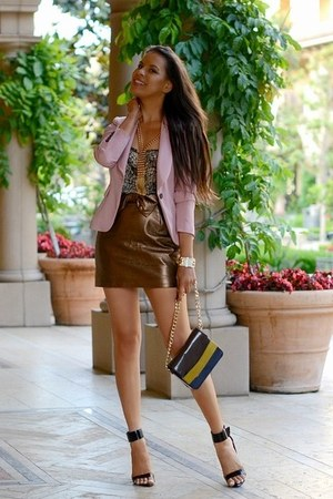 brown H&M Trend skirt - light pink Zara blazer - mustard H&M Trend bag
